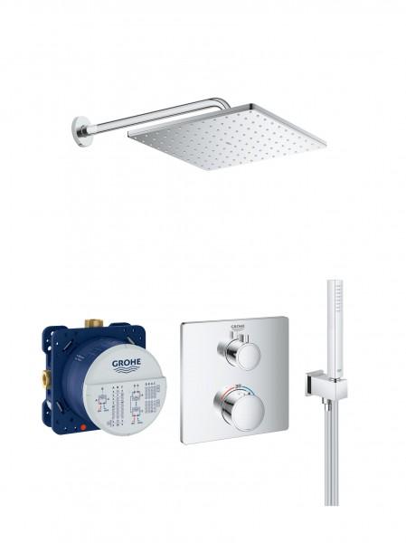 Duschsystem Unterputz Grohe Grohtherm mit Rainshower 310 Mono mit Brausearm 380 mm - CUBE003