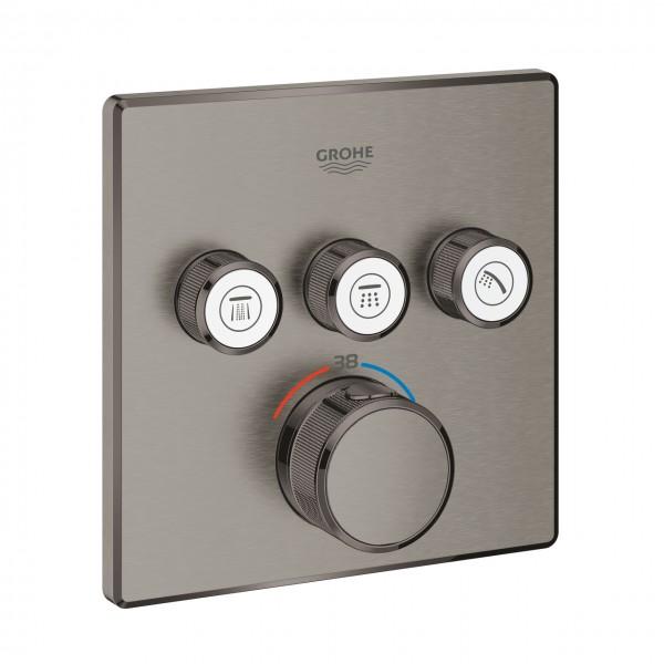 Thermostatmischer Grohtherm SmartControl mit 3 Absperrventilen, hard graphite gebürstet - 29126AL0