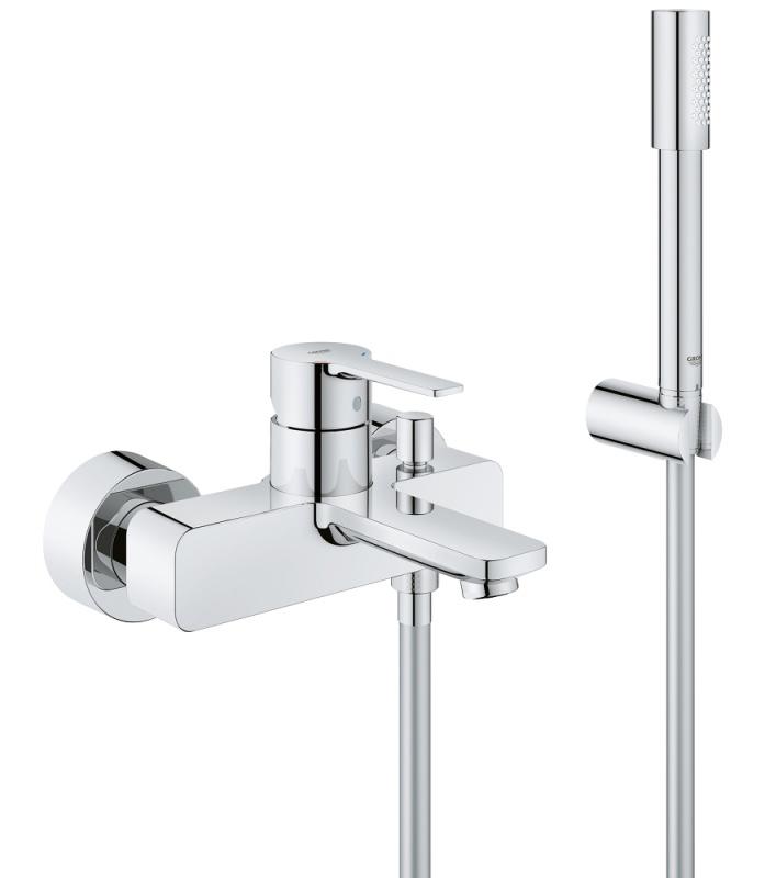 Dettagli su Grohe Lineare 33850001 miscelatore vasca a parete completo con set doccia