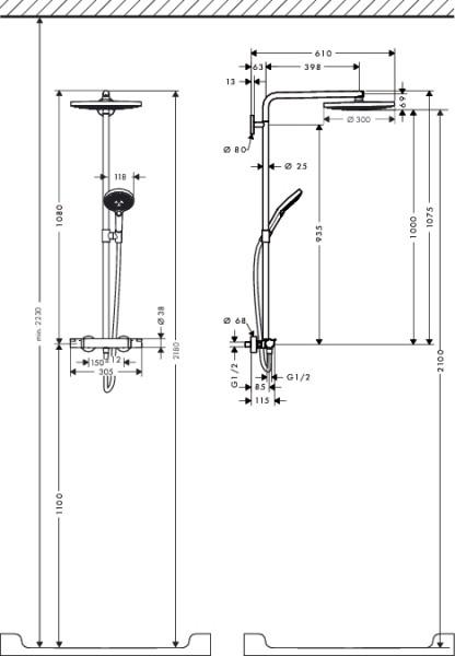 raindance select s 300 2 jet showerpipe 27133400 online shop. Black Bedroom Furniture Sets. Home Design Ideas